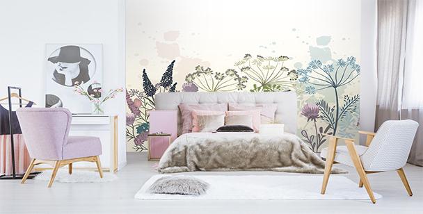 Dandelions and flowers mural