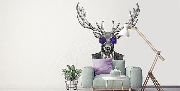 Deer sticker for a hipster living room
