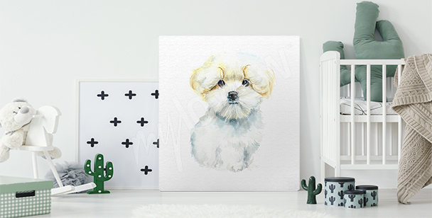 Dog canvas print for a child's room