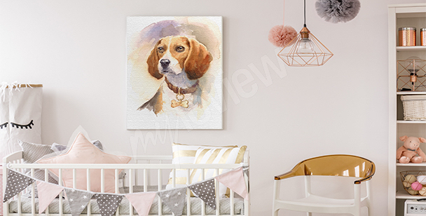 Dog canvas print for children