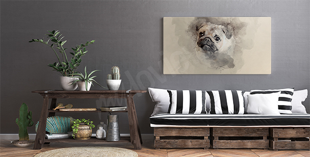 Dog watercolor canvas print