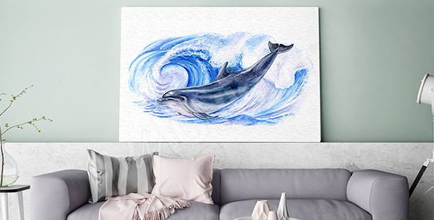 Dolphin among sea waves canvas print