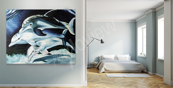 Dolphins at night canvas print