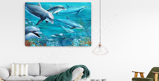 Dolphins in the deep canvas print