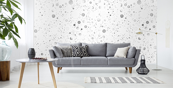 Dotted wall mural for the living room