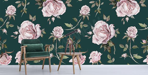 Elegant roses mural