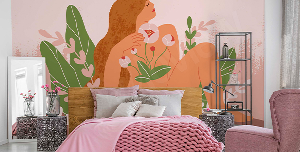 Erotic wall mural and flowers