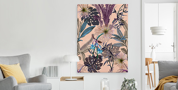 Exotic floral style canvas print