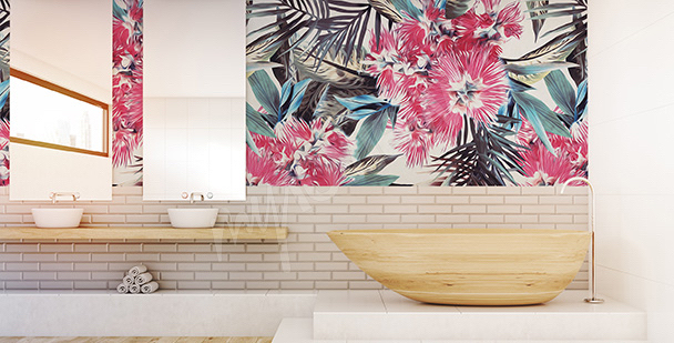 Exotic flowers mural for the bathroom