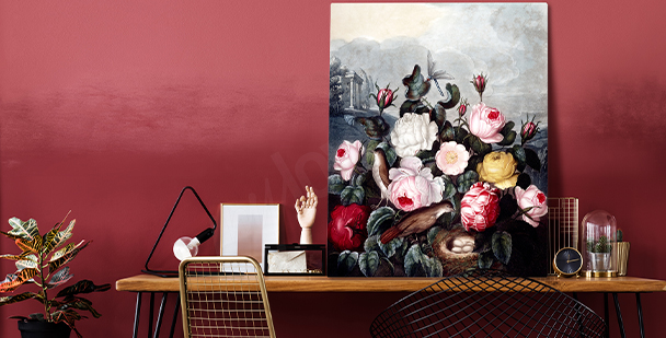 Expressive floral style canvas print