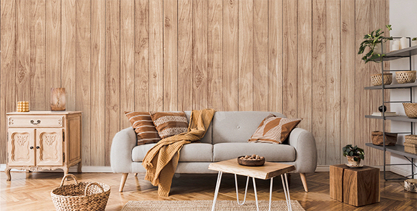 Faux wood mural for the living room