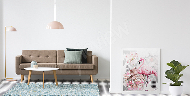 Flamingo geometry canvas print