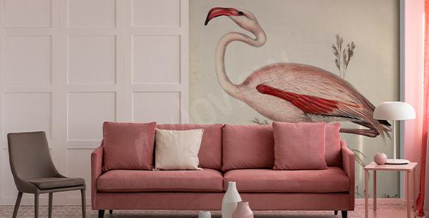 Flamingo illustration mural