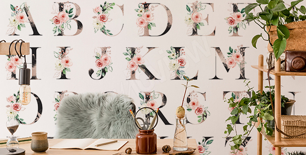 Floral alphabet wall mural
