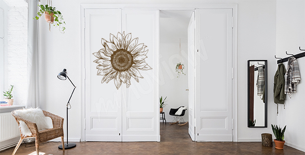 Floral door sticker