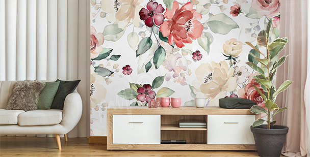 Floral living room mural