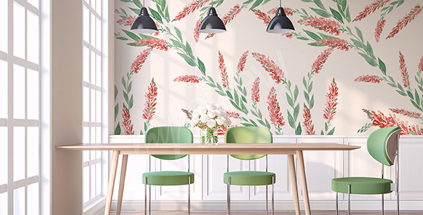 Floral motif mural for the dining room