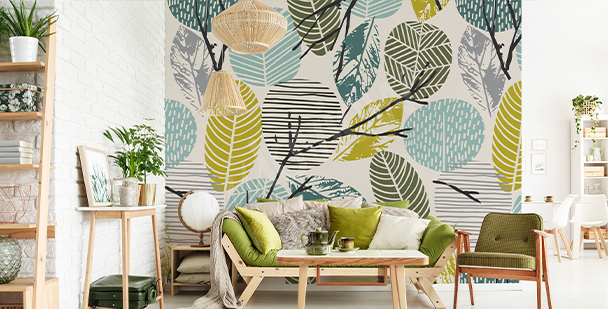 Floral motif wall mural