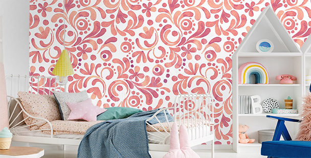 Floral mural for a child's room