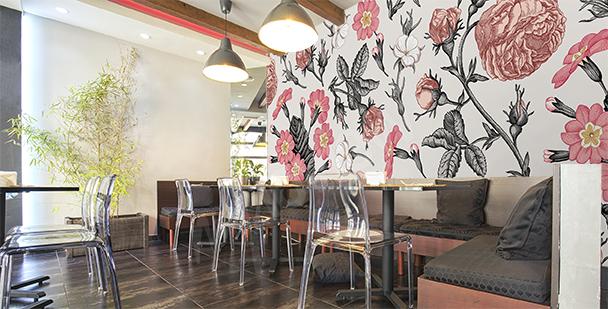 Floral mural for a restaurant