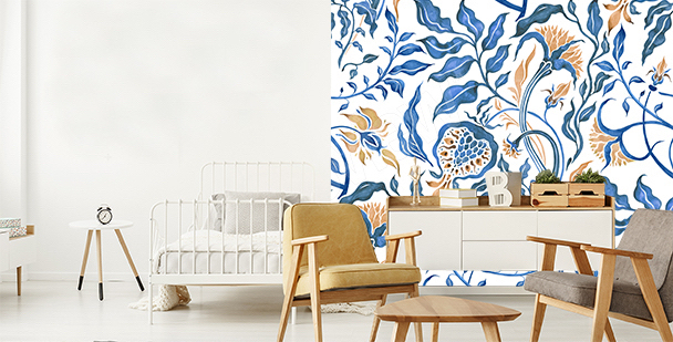 Floral mural for a studio apartment