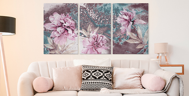 Floral style canvas print – triptych