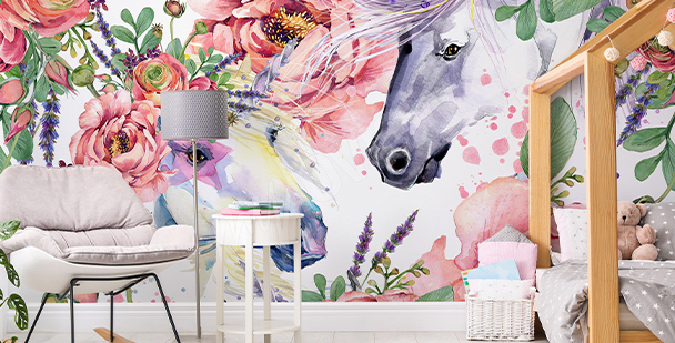Floral-style wall mural