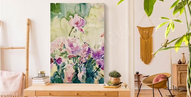 Floral watercolour canvas print