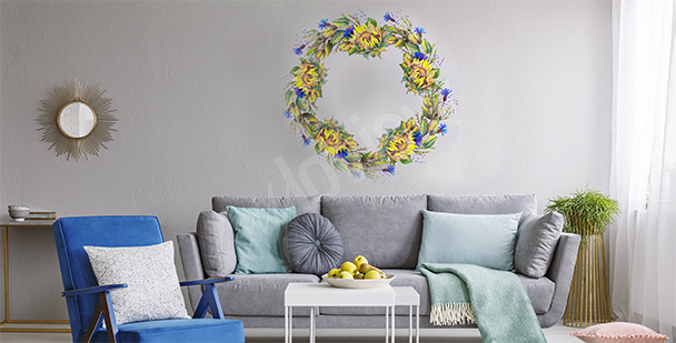 Floral wreath sticker
