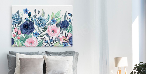 Flowers and leaves canvas prints
