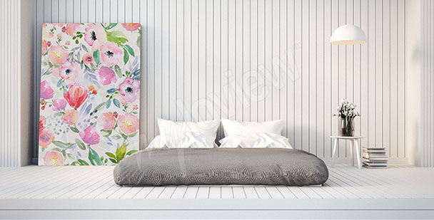 Flowers canvas print for bedroom