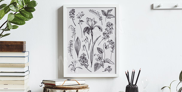 Flowers drawing poster