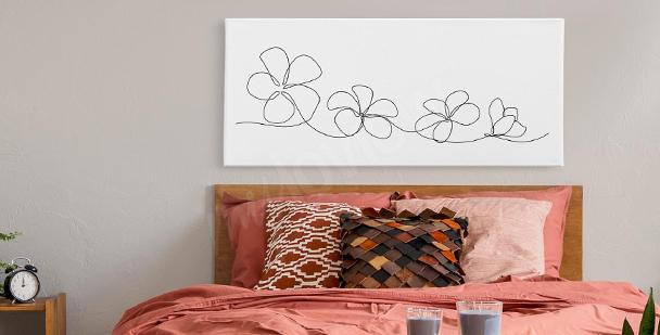 Flowers line art canvas print