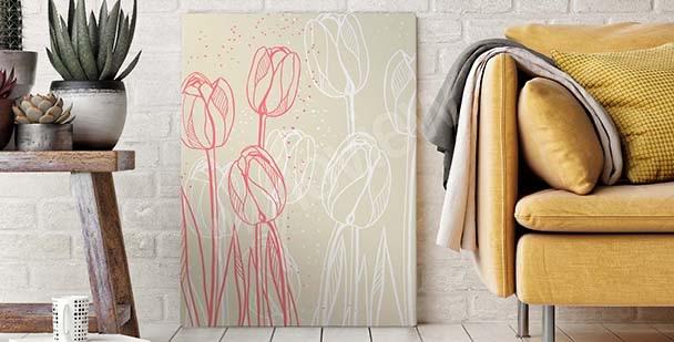 Flowers sketch canvas print