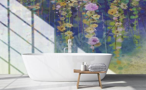 Flowers wallpaper for bathroom
