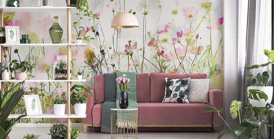 Flowery meadow wall mural