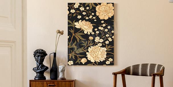 Flowery retro canvas print