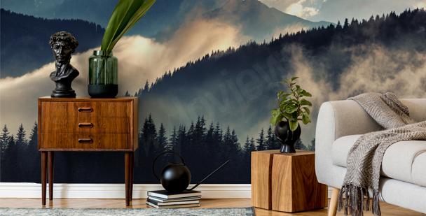 Foggy landscape mural