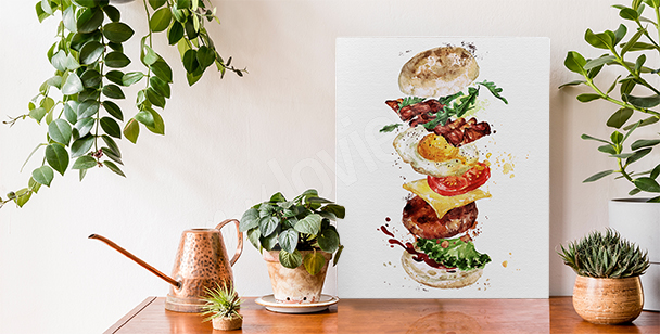 Food canvas print with a burger