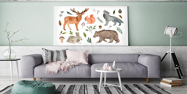 Forest animals canvas print