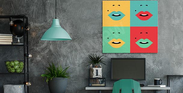 Four-coloured lips canvas print