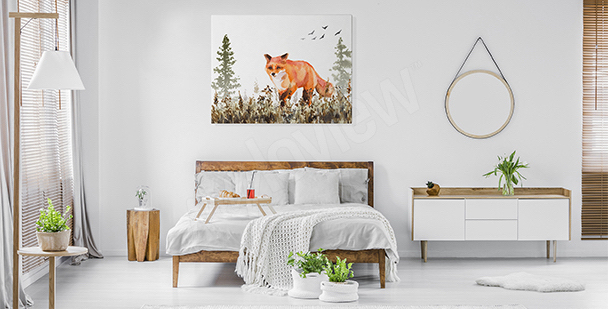 Fox canvas print for the bedroom