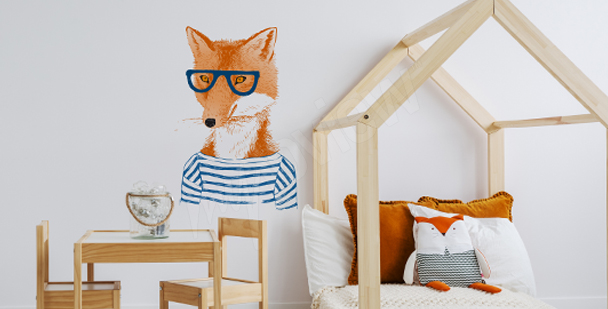 Fox with glasses sticker