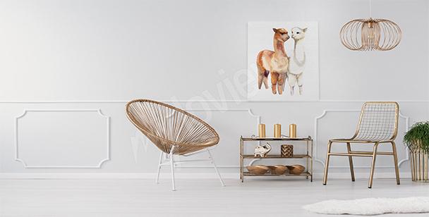 Friendly llamas canvas print