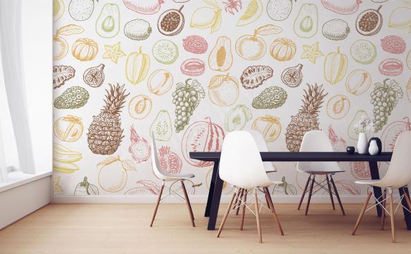 Fruit pattern mural for dining room