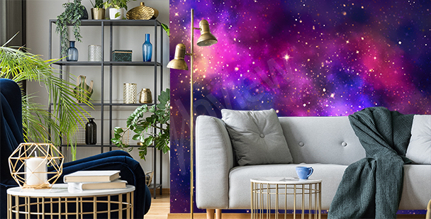 Galactic living room mural