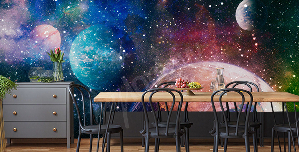 Galactic wall mural for the dining room