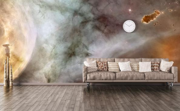 Galaxy living room mural