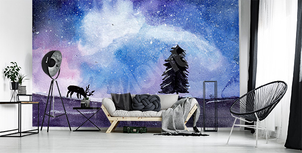 Outer space abstract mural