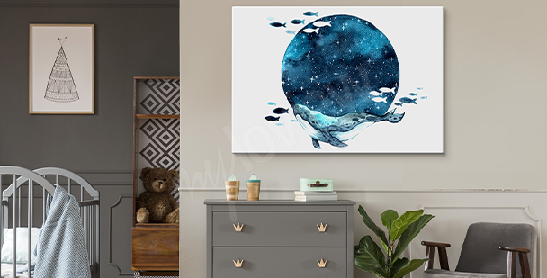 Galaxy-style Moon canvas print